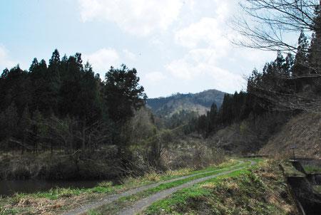 八幡神社前の空き地に車を置いたその場からの矢良巣岳。登山口はこの先200mぐらのところ。左側の尾根伝いに1時間ぐらいかなぁぁ??