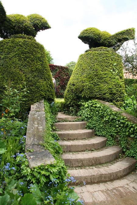 階段の両端に門柱の様にそびえ立つコニファーのトピアリー 鳥が素敵