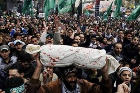 Begravelsesoptog for de dræbte palæstinensere
