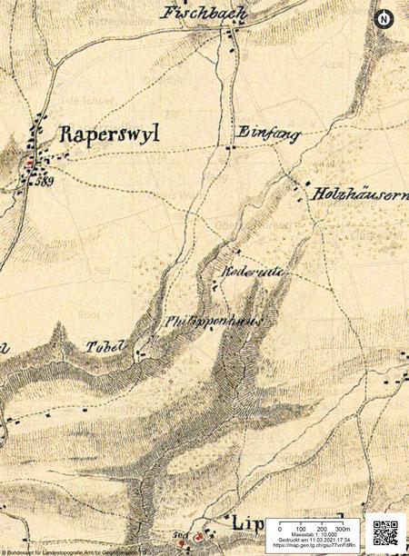 auf der Sulzbergerkarte von 1834 finden wir dann den ehemaligen Kirchweg durchs Wolfstobel zur Kirche Lipperswil