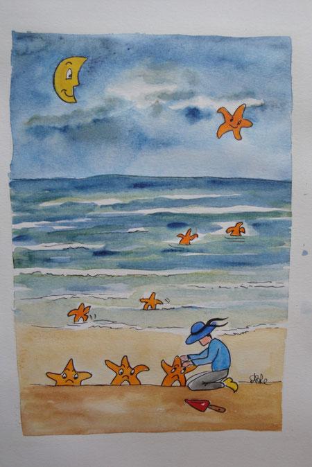 Le laboureur de la mer, aquarelle de Michelle Legathe