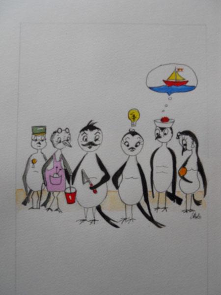 Famille de pies, aquarelles de Michelle Legathe