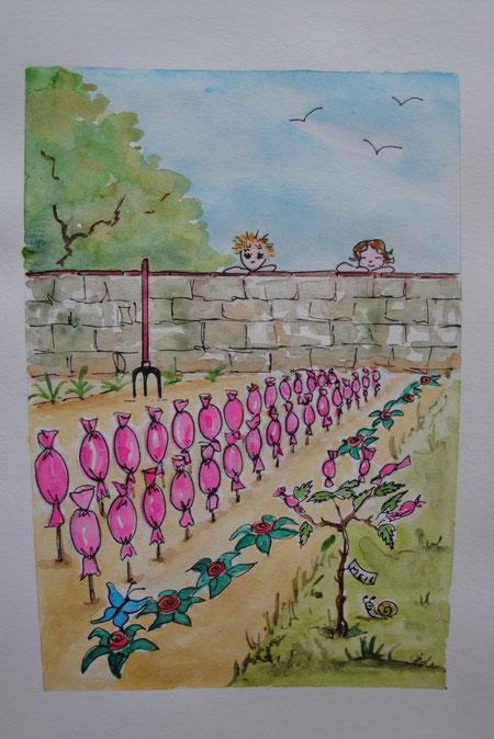 Le jardinier-confiseur, aquarelle de Michelle Legathe