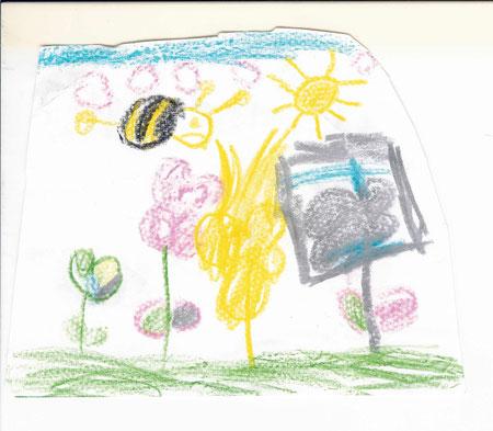 Nach dem Nektar sammeln fliegt die Biene nachhause zur Beute.