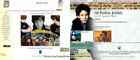 nicholasjonas.com - Nicholas Jonas original Broadway site screenshot, 2004 and 2005