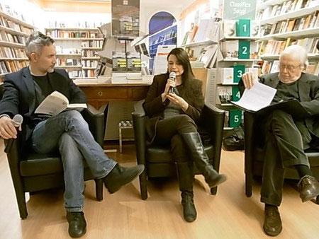 """Una foto di Sabrina Minetti: presentazione di """"Delitti d'acqua dolce"""" alla Feltrinelli di Varese, con Massimiliano Comparin ed Elena Sedin"""