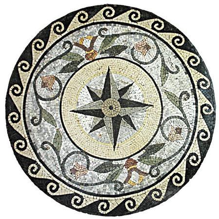 tapa para mesa de jardin  realizada en mosaico  romano con teselas de azulejos de 6 mm. Se puede hacer en cualquier formato que nos pidan a partir de 90 cmts.