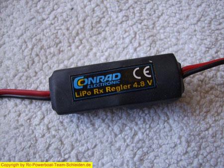 Der LiPo Regler von Conrad Electronik,damit kann mann auch den Empfänger, der ja normalerweise mit 4,8V betrieben wird , mit einem 2S LiPo betreiben  (ca 6,4 V  bis....  ).