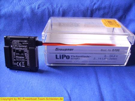 Der Tiefenentladeschutz von Graupner LiPo Tiefentladeschutz er kann bis 58,8 Volt oder 14 LiPo.