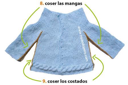 Ropón o chaqueta con canesú y trenza tejida en dos agujas o palitos
