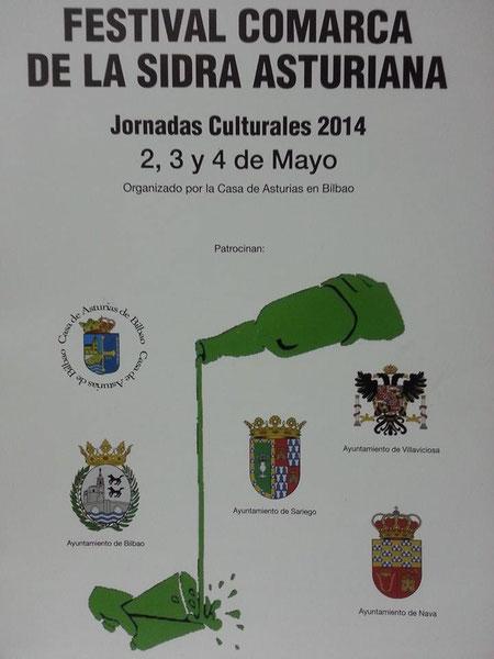 Cartelu de les Xornaes Culturales 2014, de la Casa d'Asturies de Bilbo (Bizkaia)