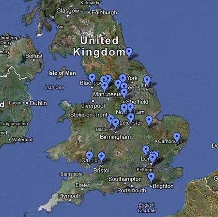 Eine England-Karte mit abgesteckten Orten