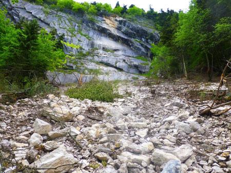 L'avalanche de pierres à créé un couloir