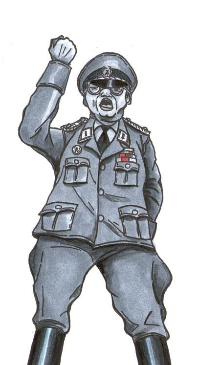 30 Jahre Mauerfall ,Oberstleutnant Schulze vom Grenzregiment 33 an der Berliner Mauer,Bild aus dem Comic Todesstreifen