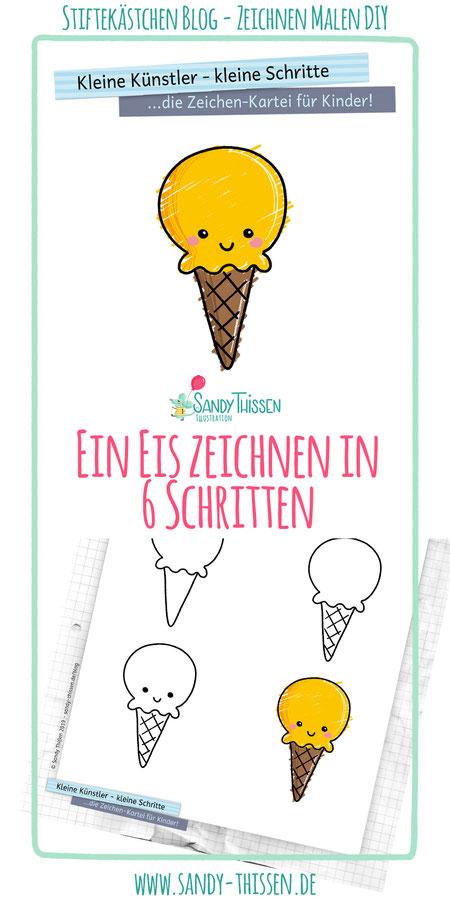 Eis zeichnen malen lernen in 6 einfachen Schritten für Kinder, Schule, Kita, Kindergarten, Eltern, Großeltern