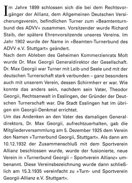 Quelle: 100 Jahre Jubiläumsschrift 1899 - 1999   des TSV Gerogiie-Allianz e.V.
