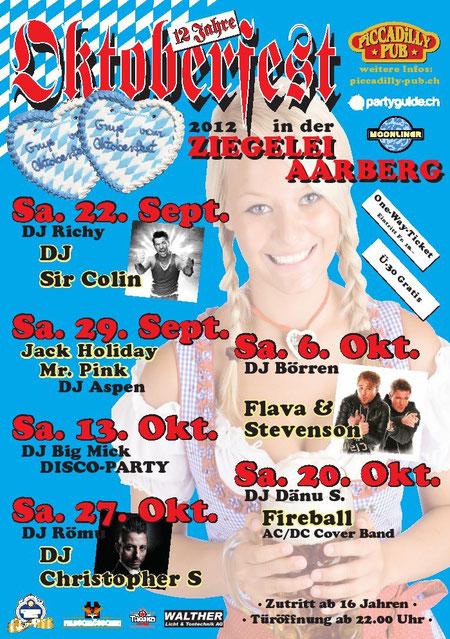 DJ Aspen, Aarberg, 2012, Piccadilly, Oktoberfest, Ziegelei