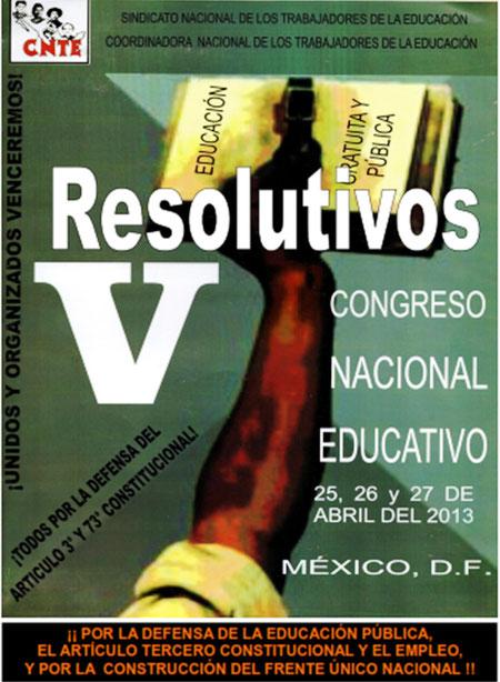 Resulitivos V Congreso Nacional Educativo de la CNTE