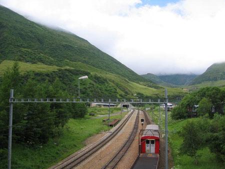 Das Nordportal des 15.381 km langen Furkatunnel in Realp UR.