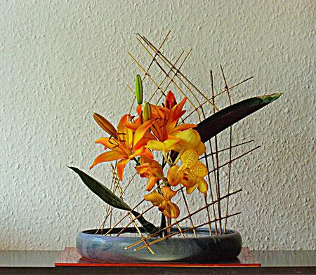 Lilie in Reedgitter