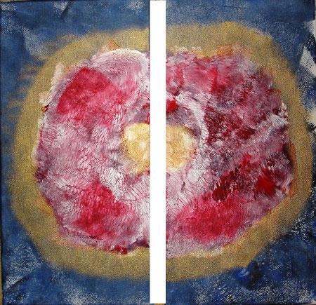 """""""devided"""", Acrylic on canvas, price and availability on request, """"Geteilt""""       Acryl auf Leinwand       Gemälde besteht aus zwei Teilen       zu je 20 x 40 cm       Preis und Verfügbarkeit auf Anfrage"""