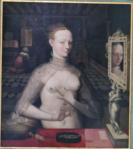Ecole de Fontainebleau : portrait d'une dame, 1540-50