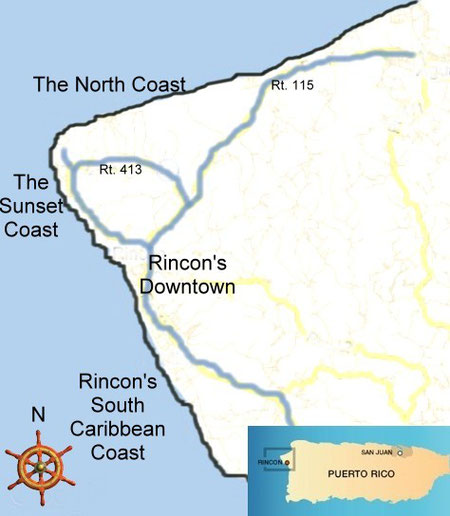 rincon, puerto rico, map, vacation, rentals