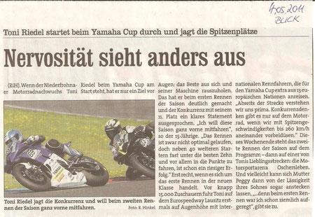 Blick, Yamaha, Motorradrennen