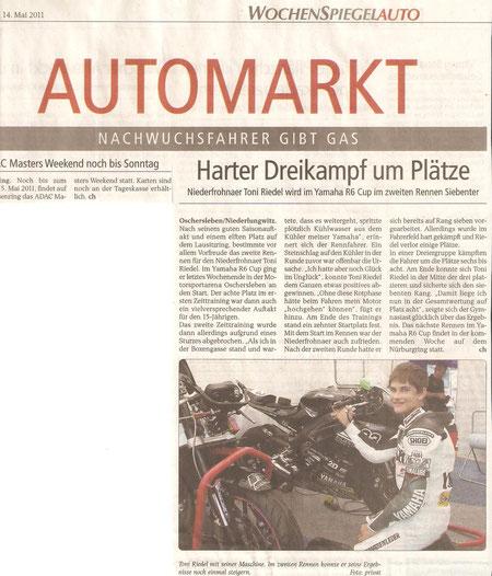 Yamaha R6 Cup, Toni Riedel , Wochenspiegel, Glauchau