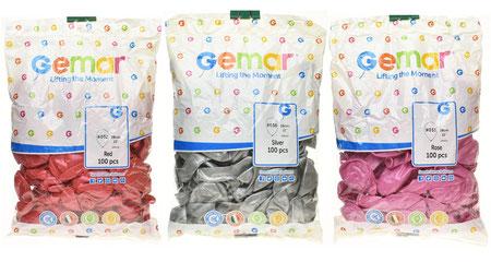 """Воздушные шары Gemar в пачках, размер 12"""", металлик"""