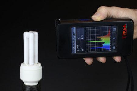 Spektrum des sichtbaren Lichts an einer KLL Energiesparlampe