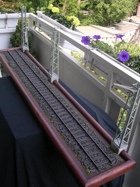 Probeweise wurde das Gleisteil einmal an die frische Luft gebracht- witzig ist der Größenvergleich mit den frischen Veilchen schon:-)