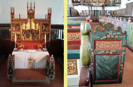 geschnitzter Flügelaltar um 1500 /  Kirchenbänke