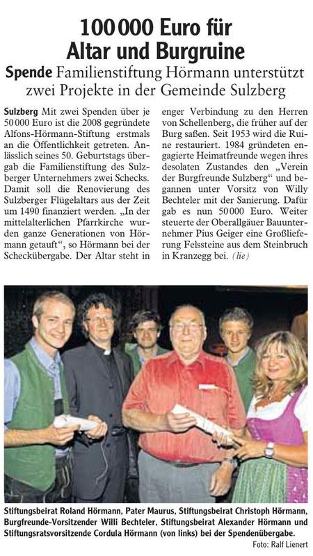 Allgäuer Zeitung vom 15. September 2010
