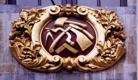 Un blason de la corporation des ébénistes, à Bruxelles.