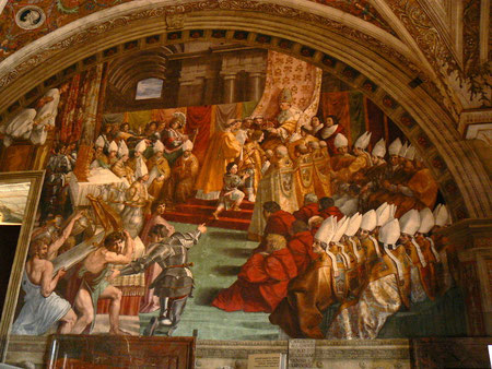 Coronación de Carlomagno(año800).Estancia del Borgo.Rafael.Vaticano.