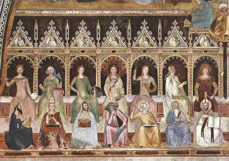 Alegoría de las artes liberales. Pared izquierda de la Capilla de los españoles. A Buonaiuto 1365-67