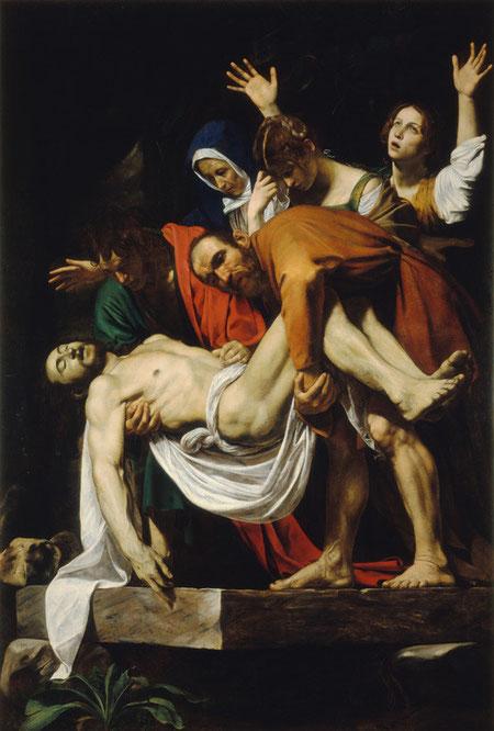 """Michelangelo Merisi da Caravaggio, """"El Descendimiento"""".Óleo sobre lienzo,306 x 214 cm.   Ciudad del Vaticano, Museos Vaticanos."""