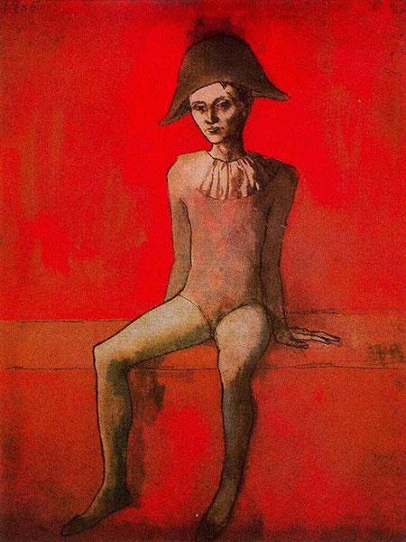 Picasso. Arlequín sentado 1905.Acuarela y tinta negra sobre cartón. Berggruen Museum.Berlin. Sentado en un espacio indeterminado y alegórico que le añade una cualidad de imagen universal
