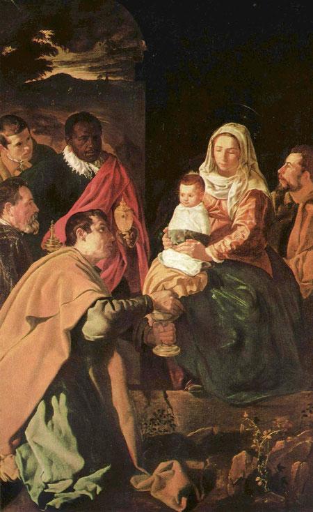 Adoración de los Reyes Magos o Epifanía. Óleo sobre lienzo.(203 cm 125 cm) Diego de Silva y Velázquez. 1619. Museo del Prado, Madrid
