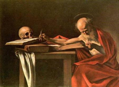 San Jerónimo escribiendo el prólogo de la Vulgata, Caravaggio