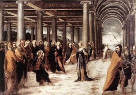 Tintoretto. Cristo y la mujer adúltera.1546.Roma Galeria Nazionale d´Arte Antica, Roma.