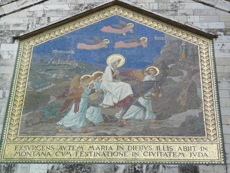 Mosaico que recuerda la Visitación