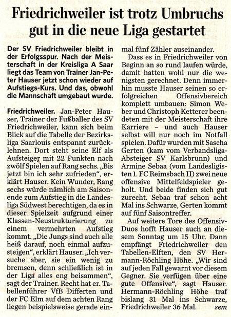 Saarbrücker Zeitung vom 15.10.2011