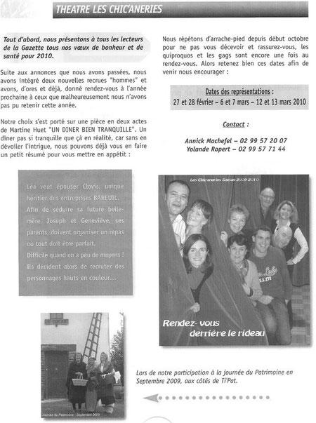 Source: La Gazette D'Orgères Janvier 2010 N°116