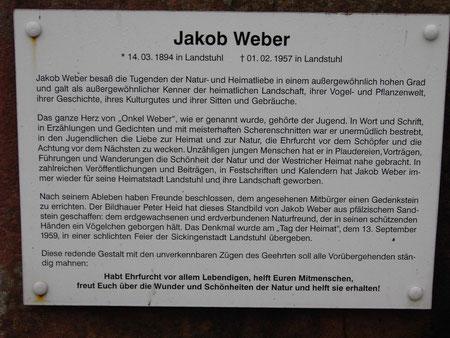 Tafel am Jakob-Weber-Denkmal