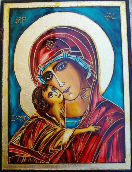 Milakovic Kristina – Madonna bizantina - vitrage su legno - 15 X 20