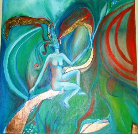 Mantuano Rita - La nascita di Eva - olio e foglia rame su tela - 50 X 50