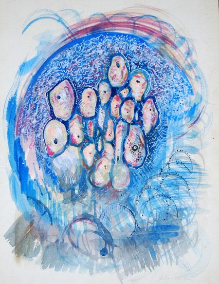 Massimo De Luca – Sintomi – acquerello carta – 33 X 43