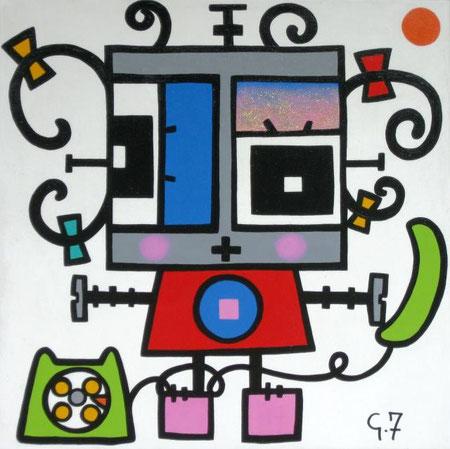 Ferretti Giulia - Rosa al telefono - acrilico tela - 40 X 40